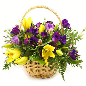 Seasonal Flower Basket: Yellow and Mauve
