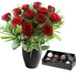Twelve Red Roses & Chocs