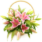 pink lily flower basket from £34.90