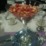Rhubarb & Custard Sweets in Martini Vases